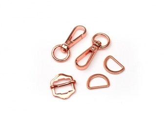 Hardware Kit in Copper - Swivel Clasps, Slider and D-Rings - Works for Zippy Crossbody bag by Sallie Tomato