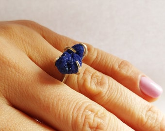 Azurite ring, silver ring, Azurite gemstone, Azurite jewelry, Navy blue ring, Sterling silver