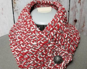 Neck wrap, cowl neck scarf, chunky scarf, knit scarf, chenille scarf, neck warmer, red scarf, birthday gift