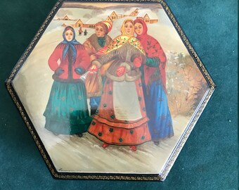 Large Russian Signed Fedoskino Black Lacquer Box