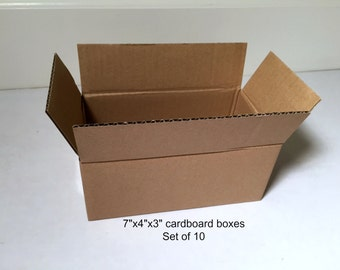 """7""""x4""""x3"""" shipping boxes, set of 10, cardboard boxes, small boxes, brown boxes, corrugated cardboard, mailing boxes, packing boxes, 7x4x3"""