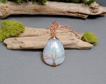 Opalite Tree of Life Necklace - Opalite Necklace - Gemstone Necklace - Opalite Pendant - Copper Necklace - Teardrop Necklace