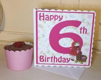 6th birthday card etsy birthday card for a 6 year old girl 6th birthday card greetings card bookmarktalkfo Choice Image