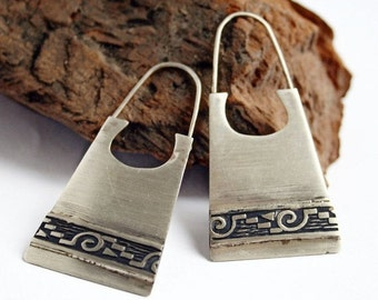 Hippie Earrings in Sterling Silver with Textured Band - Boho Earrings - Textured Silver Earrings
