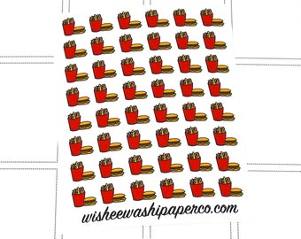 Mini Burger & Fries Stickers - Food Pairing Stickers - Perfect Match Foods - Food Stickers - Food Doodles - Planner Stickers