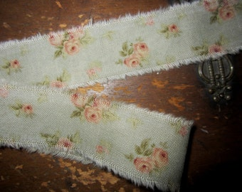 """Tattered Tea Stained Fabric Ribbon Robin Egg Blue Peach Roses  1"""" Rare Fabric"""