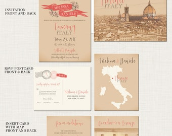 Destination wedding invitation Tuscany Florence Italy Wedding Invitation Suite - European bilingual Illustrated invitation Deposit Payment