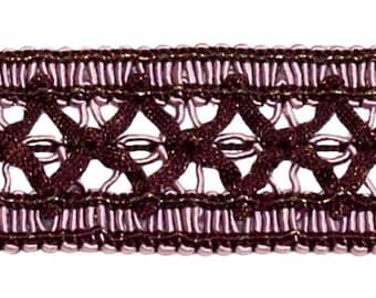 Vintage 1.5 Inch (3.8cm) Wide Dusty Mauve, Dark Plumgimp Braid Trim - Luscious Lavenders 2927 (sold by The Yard)