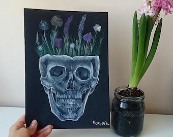 Original skull drawing - A4 size