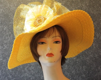 Yellow Kentucky Derby Hat, Derby Hat, Garden Party Hat, Tea Party Hat, Easter Hat, Church Hat, Wedding Hat, Downton Abbey Yellow Hat 967