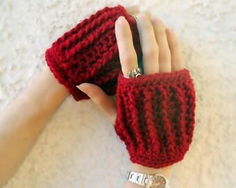 Cranberry hand warmers, fingerless gloves, arm warmers, texting gloves, crochet gloves, wrist warmers, mittens, warm gloves, winter gloves
