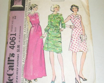 25% Off Sale Vintage 1974 McCall's 4061 Misses' Dress sewing pattern