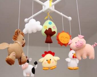 Baby Crib Mobile ,Farm Friends-Lovely Farm -Baby Girl Mobile, Mobile Nursery farm Animals