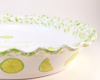 Key Lime Pie Dish - Personalized Pie Plate - Key Lime Pie Plate - Deep Dish Pie Plate - Hand Painted Pie Dish - Gift for Baker and Chef
