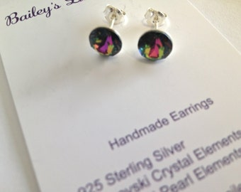 CHOOSE from 13 COLOURS 8mm Swarovski Crystal Elements Earrings with Sterling Silver
