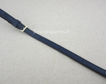 Adjustable Real Leather Purse Strap in Navy Blue 130cm x 1.2cm