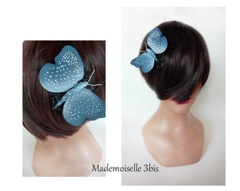 Mini Hat blue butterfly fascinator, pillbox, hat, wedding Hut wedding, wedding Hat