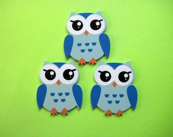 """Small blue Owl Wooden Animal Ornaments for Boy Baby Shower Party Favors, Craft, Zoo, Forest, Jungle, African Theme, 1 3/8 """" x 1 5/8"""", 12 pcs"""