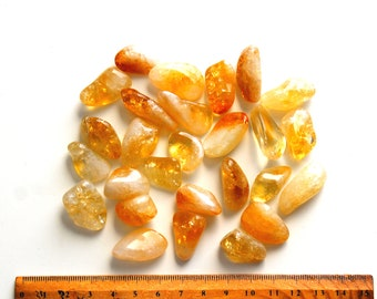 1 Citrine tumbled stone yellow gemstone chakra healing crystals and stones crystal jewelry making supplies wire wrapping birthday gifts