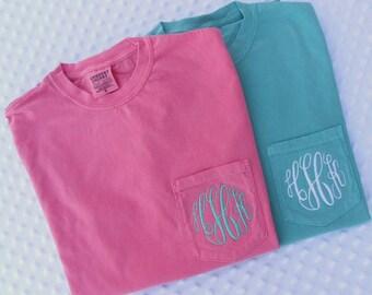 Monogrammed Comfort Colors Short Sleeve Pocket Shirt