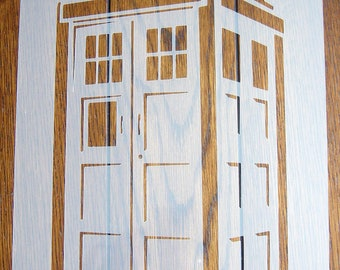 DOCTOR WHO TARDIS Police Box A5 Stencil Mask Reusable pp Sheet for Arts & Crafts
