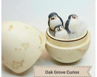 Antarctica gifts etsy penguin egg with three tiny penguins bird lover gift easter gift for ages 12 negle Image collections