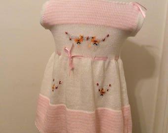 Vintage Mexican Ethnic Knit Dress Pink Birds Sz 18\24M