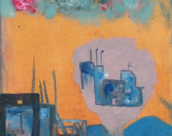 The City That Dreams of Itself - original 8x10 painting on canvas - a rare early work from Jack Breakfast, yes yes