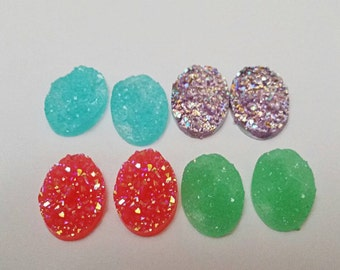 8pc 13x18 Mixed Oval Resin Drury Cabochons