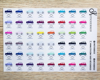 Multi Colour Car Repair Mechanic Planner Stickers for Erin Condren and Recollection Life Planner