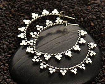 20% OFF SALE! Silver Lotus Petal Hoop Earrings with Granulation. 925 Silver. Item 313.