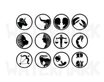 08 SVG/JPG - Zodiac Icon Design of Aries Taurus Gemini Cancer Leo Virgo Libra Scorpio Sagittarius Capricorn Aquarius Pisces - Hand Drawing
