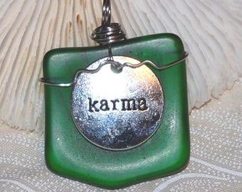 Karma Green Glass Pendant Handmade Recycled Jewelry