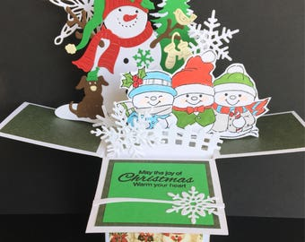 Snowman pop up card, Christmas pop up box card, 3D christmas card with snowman, kids christmas card, whimsical Christmas card in a box
