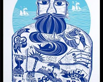 linocut, Tattoodles, blue and white art, tattoo print, sailor print, full beard art, gift for him, sailing, ships, ocean, seaside, beach
