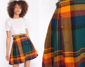Tartan Skirt Plaid Mini Skirt School Girl PLEATED Skirt Button Up High Waist 80s Preppy Checkered Vintage Lolita Yellow Green Extra Small xs