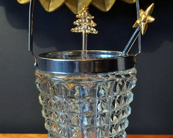 French Vintage Glass Ice Bucket // Vintage Glassware // Chrome & Glass Ice Bucket // Vintage Glass Ice Bucket.