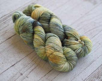 Jetty Blue Green Silver Orange Hand Dyed Yarn // 100% Superwash Merino Single Ply Sock Fingering Weight Yarn