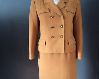 Vintage Skirt Suit, All Wool Designer Suit, Herbert Grossman Women's Size 12 Petite, Made in USA