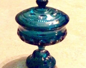 Reduced! Indiana Glass Kings Crown/Thumbprint Pattern Covered Pedestal Dish
