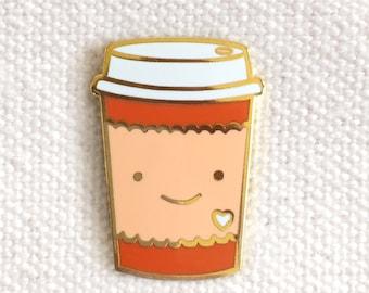 Coffee Lover Pin - Lapel Pin - Cloisonné Enamel Pin - Shiny Gold Metal - Kawaii Flair Pin - Gift for Coffee Lover - EP2071