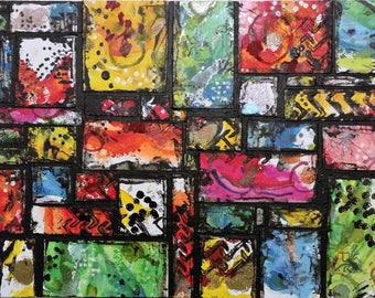 Abstract Mixed Media painting on canvas board 11 x 14 in / Original Art / Wall Art / Decor