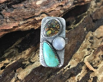 Turquoise, boulder opal, moonstone and & hammered sterling ring OOAK size 7 1/4