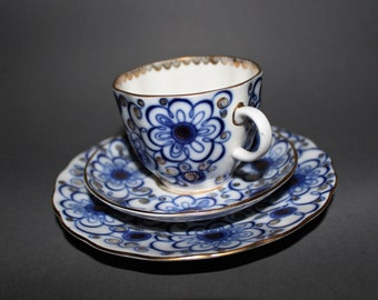 Lomonosov - Bindweed - Trio Cup with Saucer and Dessert Plate - Excellent Condition - 1960's - Blue Porcelain -Flowers Motive - High Quality
