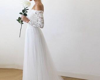 Ivory Off-The-Shoulder Lace Wedding Dress, Ivory Off-The-Shoulder Lace and Tulle Train Wedding Gown, Ivory Train Wedding Dress 1162