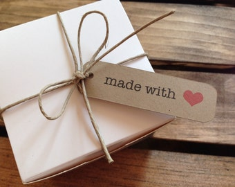 Made with Love - Wedding Favor Tag - Gift Wrap Tag -  25 tags