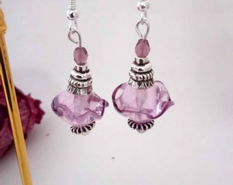 Boucles bohèmes perles de verre dentelle