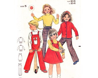 Girls Sewing Pattern Jacket Jumper Overalls Top Pants Butterick 3370 Girls Size 5 Vintage Pattern UNCUT