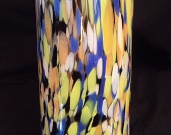 "Art Confetti Spatter Glass 14"" tall vase"
