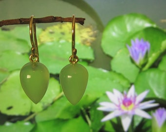 Lilypad Green Chalcedony 18k Yellow Gold Acorn Ear Dangles Gift for Wife Mothers Day Perfect Gift  Earrings Minimalist Spring Green